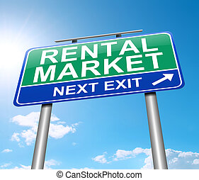 Rental market concept. - Illustration depicting a sign with...