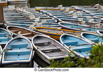 Rentals Boats at boat station on the lake in japanese-style park