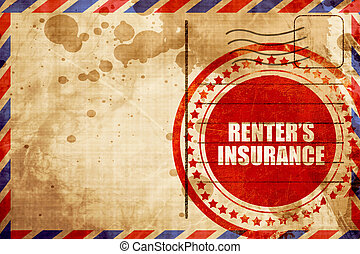 renter's insurance, red grunge stamp on an airmail ...