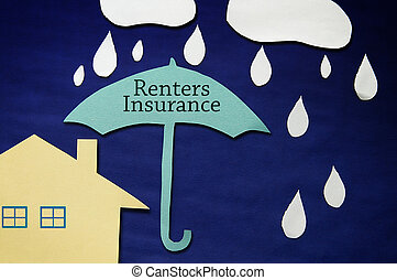 Paper rain and clouds with Renters Insurance umbrella and house