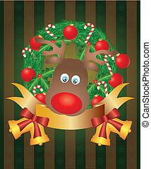 rentier, kranz, weihnachten, abbildung