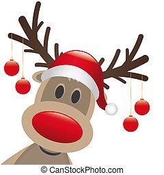 rentier, rote nase, weihnachten, kugeln