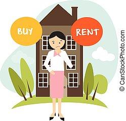 renting , διαμέρισμα πολυκατοικίας , μικροβιοφορέας , γυναίκα , εικόνα , αποφασίζω , σπίτι , αγοράζω , ή , εξαγορά , ενοικιάζω
