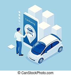 renting , isometric , smartphone, service., αυτοκίνητο , μοιρασιά , κράτημα , online., άντραs