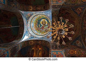 renversé, sauveur, église, intérieur, sanguine, saint-petersburg, russie