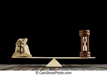 renverser, argent, concept., espèces, équilibre, temps, ou, changement