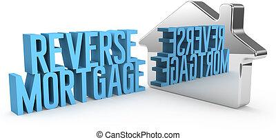 renverser, hypothèque, maison, maison, concept