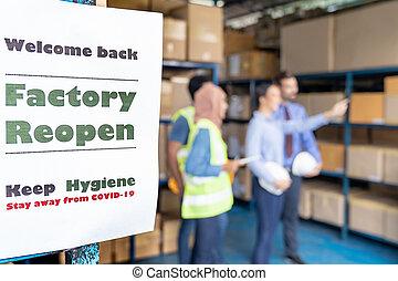 reopen, fábrica, signage, covid-19, después, pandemia