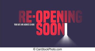 reopening, apertura, vettore, o, porta apre, fondo, illustrazione, grande