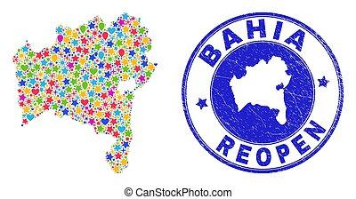 Reopening Bahia State Map Mosaic and Grunge Seal - ...