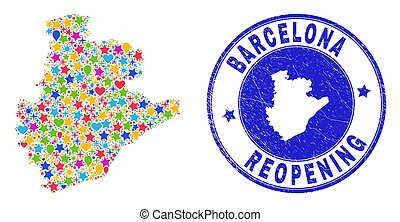 Reopening Barcelona Province Map Collage and Grunge Seal