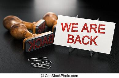reopening, concept., nosotros, negocios, back.