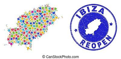 reopening, eiland, ibiza, kaart, nood, postzegel, collage