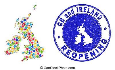 reopening, grande, mappa, gran bretagna, grunge, francobollo, collage, irlanda