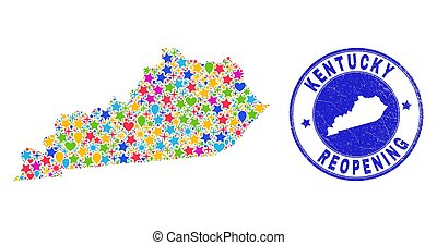 Celebrating Kentucky State map collage and reopening corroded stamp seal. Vector collage Kentucky State map is done from randomized stars, hearts, balloons.
