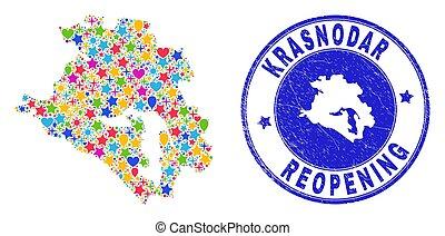 Reopening Krasnodarskiy Kray Map Mosaic and Distress Stamp...