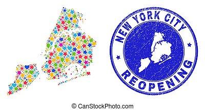 reopening, sigillo, york, città, graffiato, mappa, nuovo, collage