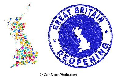 reopening, textured, grande, mappa, gran bretagna, francobollo, collage
