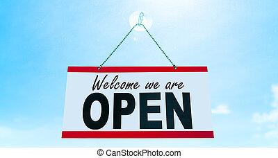 reopening, zeichen, hängender , rgeöffnete, covid-19, blaues, öffnung, again., beschränkung, fenster, einzelhandel, wir, ende, herzlich willkommen, spruch, sonne, sommer, hintergrund., himmelsgewölbe, storefront, geschäfte