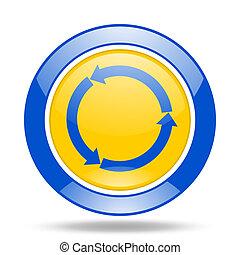 reorange yellow glossy web blue and yellow web glossy round icon
