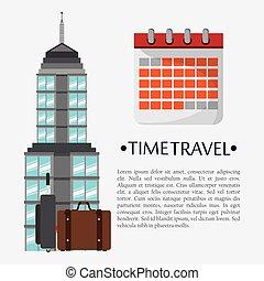 repère, affiche, voyage, calendrier, temps