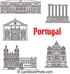 repère, bâtiments, vecteur, architecture, portugal