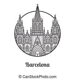 repère, barcelone, icône