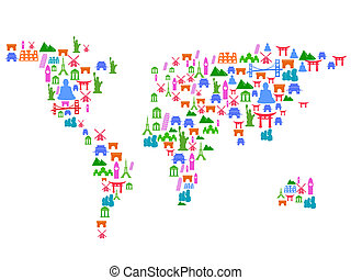 repère, carte, fait, mondiale, icônes