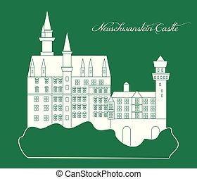 repère, château neuschwanstein, illustration
