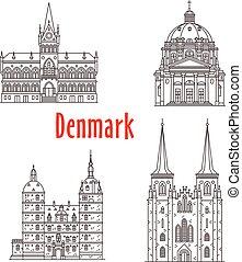 repère, danemark, bâtiments, vecteur, architecture