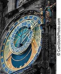 repère, horloge, -, astronomique, praha