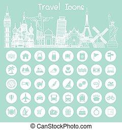 repère, icônes voyage