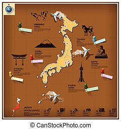 repère, japon, voyage, infographic, business