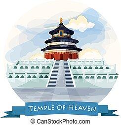 repère, porcelaine, ciel, beijing., temple