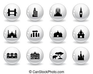 repère, toile, boutons, icônes