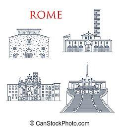 repères, célèbre, rome, bâtiments, architecture