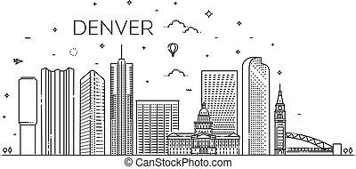 repères, colorado, skyline., architecture, denver., panorama, bâtiments, icônes, ville, paysage