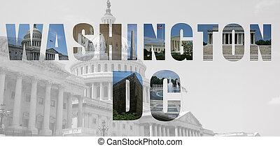 repères, dc, collage, washington, monuments