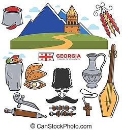 repères, géorgie, célèbre, icônes voyage, culture, vecteur, tourisme, géorgien, tourisme