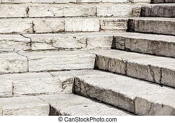 repères, pierre, blanc, diagonal, résumé, noir, escalier, photo, granit, ville, vu, souvent, étapes, monuments, large, escalier, escalier, blanc