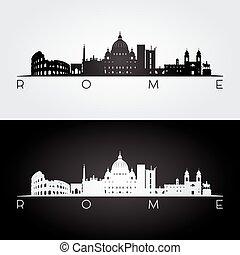 repères, rome, silhouette, horizon