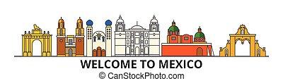 repères, silhouette, vecteur, banner., mexique, horizon, mince, urbain, voyage, ligne, plat, cityscape, icônes, ville, mexicain, contour, illustrations.