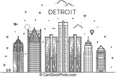 repères, skyline., architecture, michigan, panorama, ...
