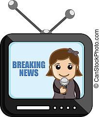 repórter notícia, sobre, tv, -, negócio
