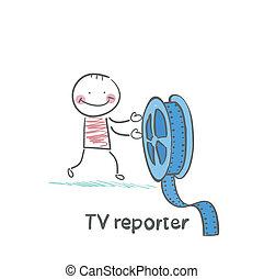 repórter tv, mantém, a, película