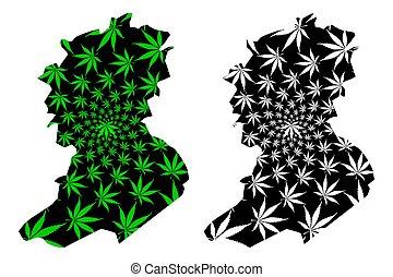 república, abbes, mapa, hoja, thc), cannabis, bel, algeria), verde, hecho, follaje, (marihuana, marijuana, pueblos, democrático, diseñado, (provinces, argelia, sidi, negro, provincia
