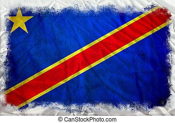 república, bandera, congo, grunge, democrático