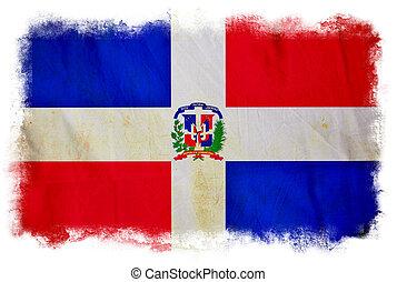 república, bandera, grunge, dominicano