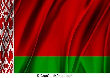 república, belarus., belarusian, vector., nacional, flag., bandera ondeante