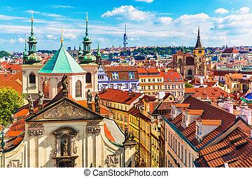 república checa, vista, aéreo, praga